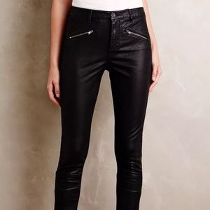 Anthropology vegan leather moto pants
